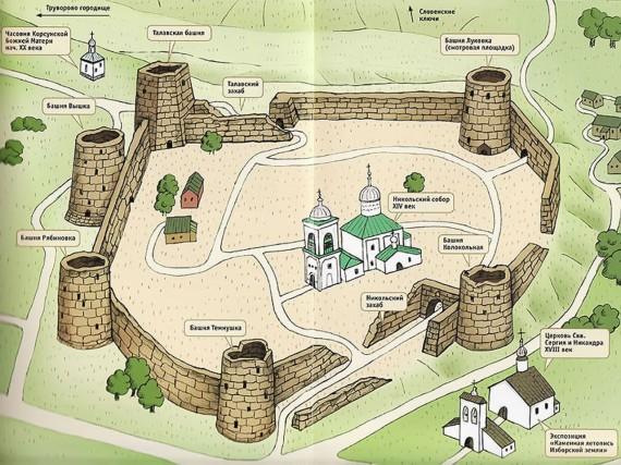 План Изборской крепости (крупно)