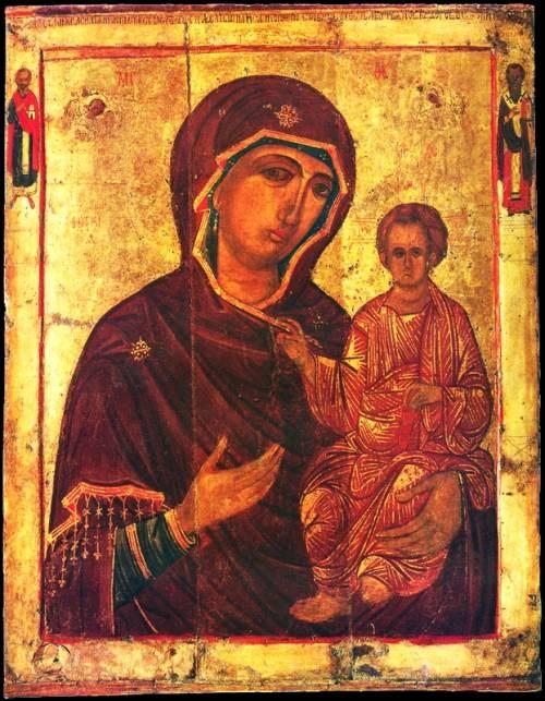 Богоматерь Одигитрия с избранными святыми Василием Великим и Киром
